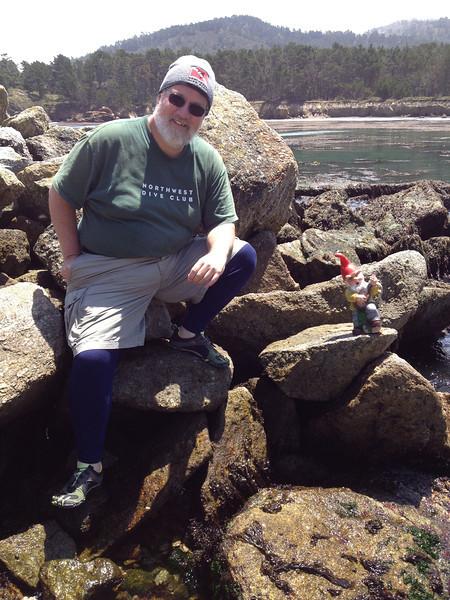 Tom Nicodemus and gnome-boy at Point Lobos.