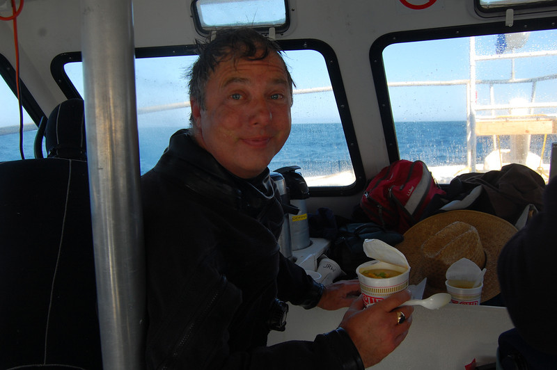 John Wolfe with the official food of divers: Cup O' Noodles.