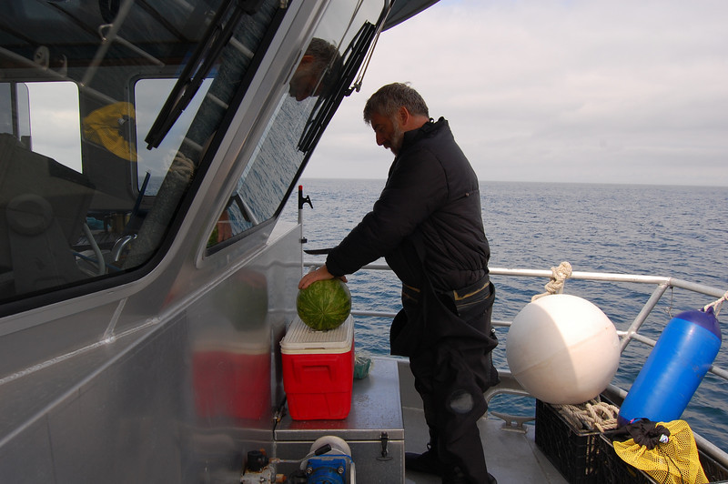 Ron about to massacre a watermelon