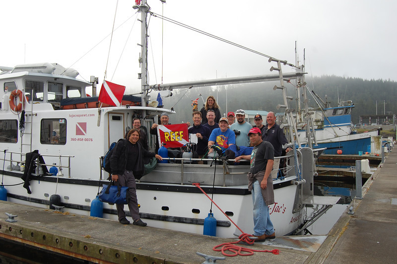The gang on the boat - LuJac's Quest came over from Anacortes to spend the week out at Neah Bay to be our dive platform.