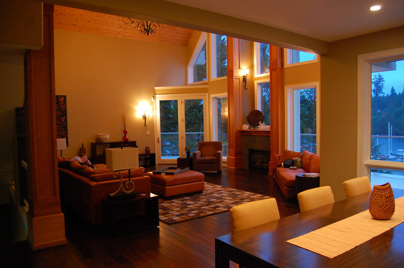 Expansive and nicely furnished with leather couches