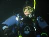 Claude underwater at night