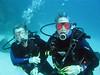 Happy surveyors underwater.