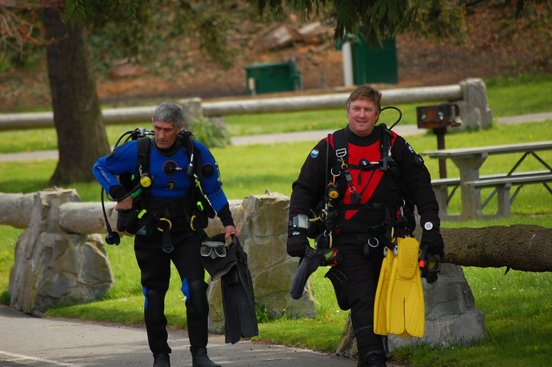 Don Atwell and his Dad - geared up for their dive after a long motorcycle ride.