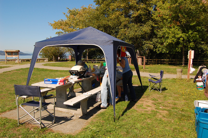 Our shelter and BBQ setup for the day