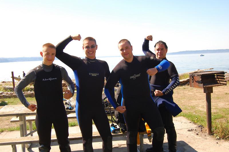 The scuba scouts! Dain Wright, Penn Wright, Jake Ziegler, Tom McCann (scoutmaster)