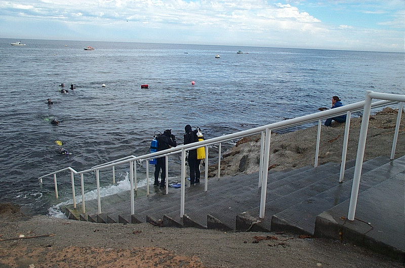 Stairs at the dive park go right into the water