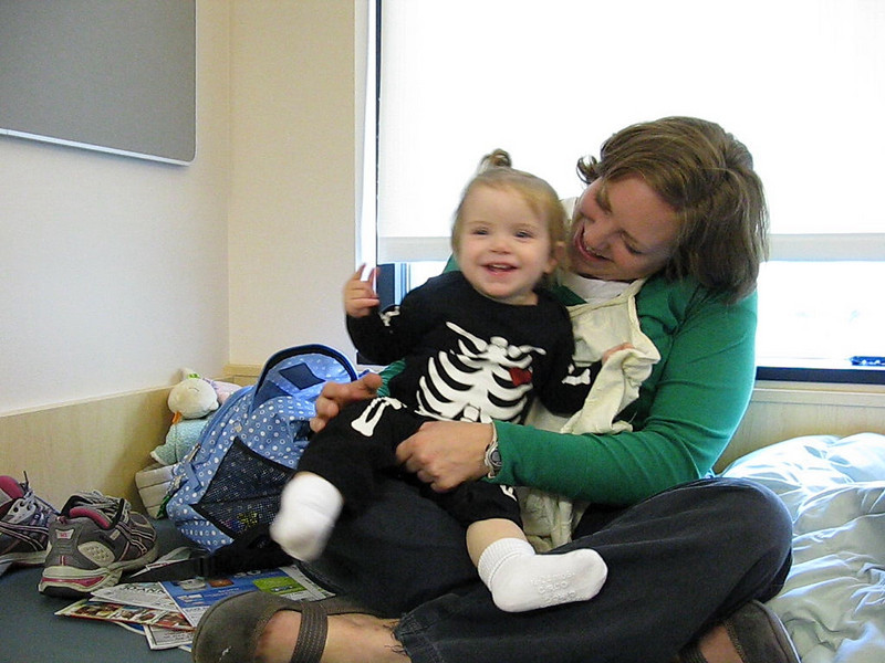 Aimee and Lucie in her skeleton costume on Halloween.