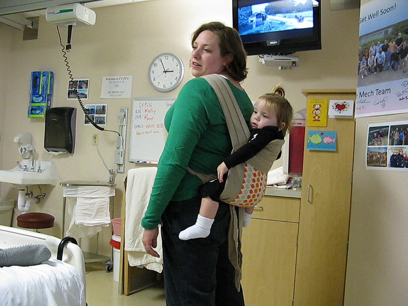 Lucie tries out a new back baby carrier that Aimee picked up off Craigslist in Portland.