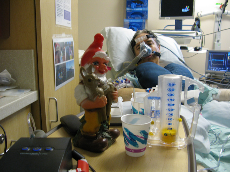 The gnome stops by after surgery to check on things and keep Claude company and let him know everything is 'normal'. (as 'normal' as gnomes are, anyway)