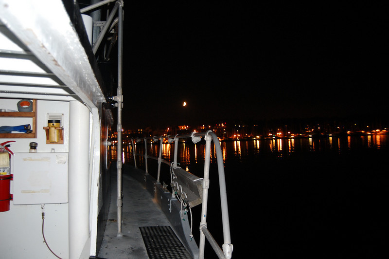 Coming into the twinkly lights of Friday Harbor at night