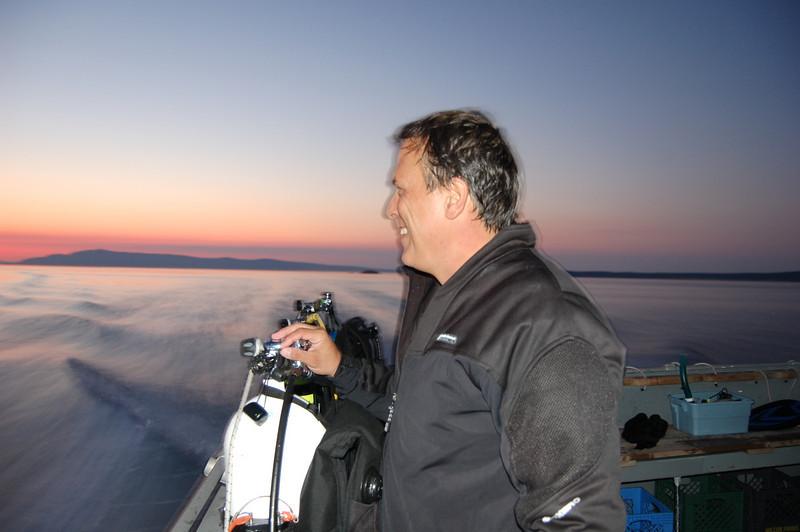Kurt on the Naknek at sunset