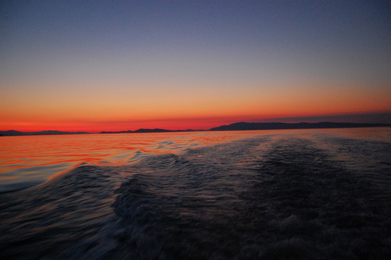 Sunset and our wake.