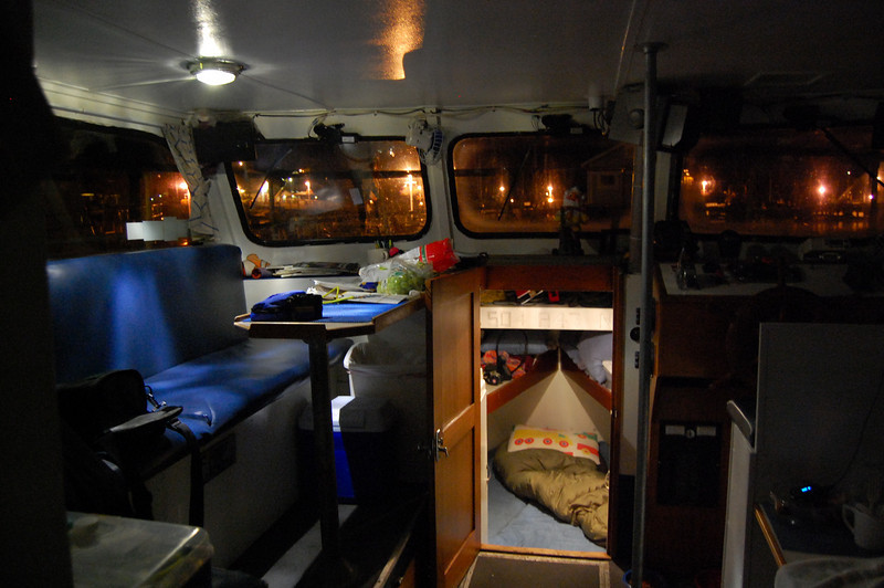Inside of cabin at night