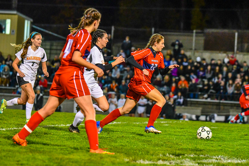 North Middlesex forward Myah Johnson sprints with the ball during a 4-0 loss to Marlboro in a Central Mass. Division 1 girls' soccer  quarterfinal on Tuesday, Nov. 8, 2016. Sentinel & Enterprise/Ed Niser
