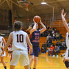 North Middlesex junior center Madeline Harrington looks to pass during Monday night's Division 2 WMass. semifinal loss to Belchertown. Nashoba Valley Voice/Ed Niser