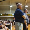 North Middlesex head coach Pat Murphy looks on from the Patriots bench late in the fourth quarter. Nashoba Valley Voice/Ed Niser