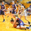 North Middlesex junior Sarah Ward and Belchertown's Kayla Henry tussle for the ball. Nashoba Valley Voice/Ed Niser