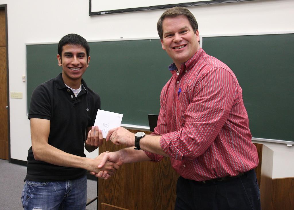 Nitesh Patel takes the Outstanding Engineering Physics Award.