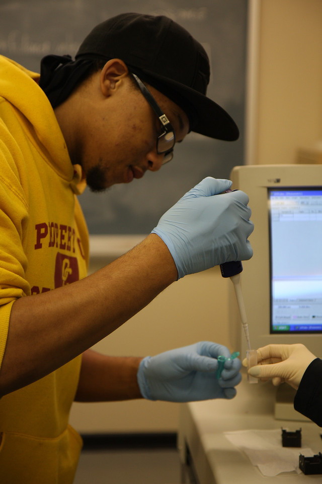 Trey Polk, sophomore, places plant ester in the test tube.