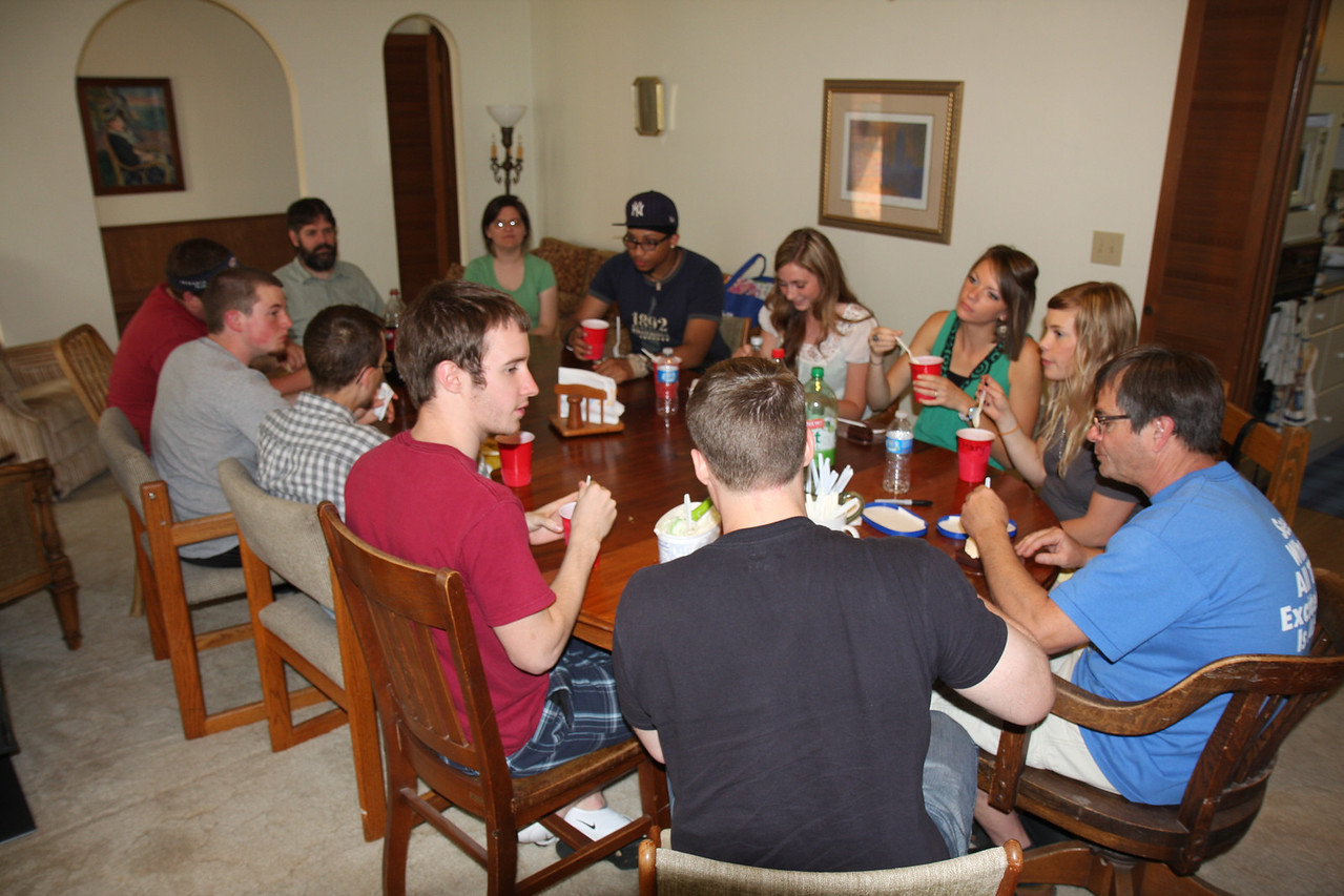 Taking some time off, the Summer Research Team 2011 enjoys some dinner at Dr. Cox's house. Southern Nazarene University's Summer Research Program does more than just supply students with an opportunity to learn, but values community life as well.