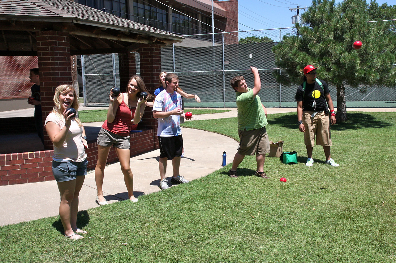Perfecting the art of bocce ball, the summer researchers enjoy an afternoon out of the lab. After a gruesome game, the guys pulled it out and won the game. Don't worry girls, you'll get them next time.