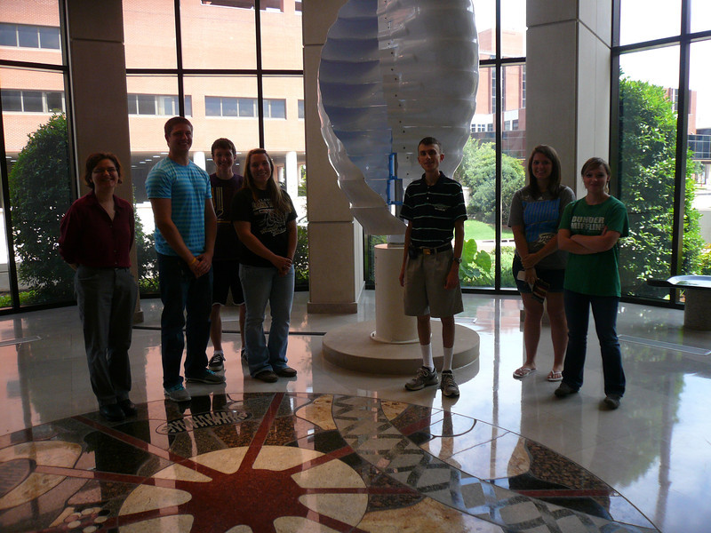 Behind us is the rotating DNA strand