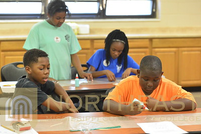 2016-10-28 TECH Jeffrey Powell aiding Boys and Girls Club with Toothpick Bridges
