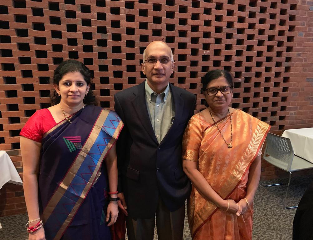 . From left, Dr. Ramya Prabhakar of Andover, and Dr. Venkata Satyam and Sujatha Satyam of Chelmsford