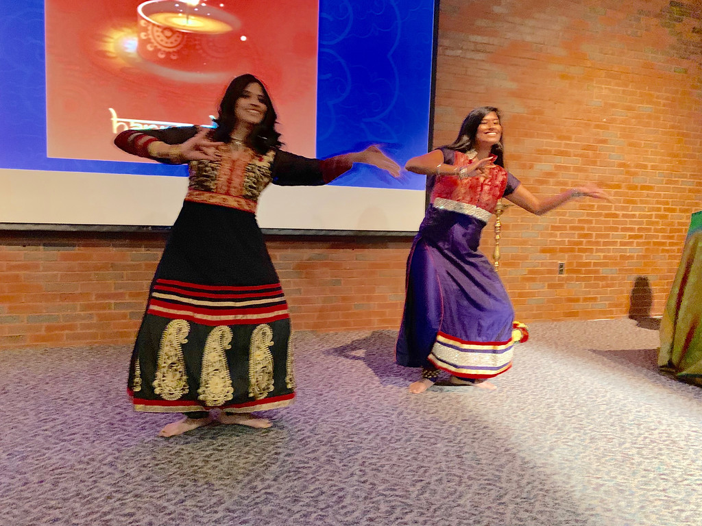 . Drs. Anasuya Gunturi and Supriya Rao, both of Newton, perform a Diwali dance.