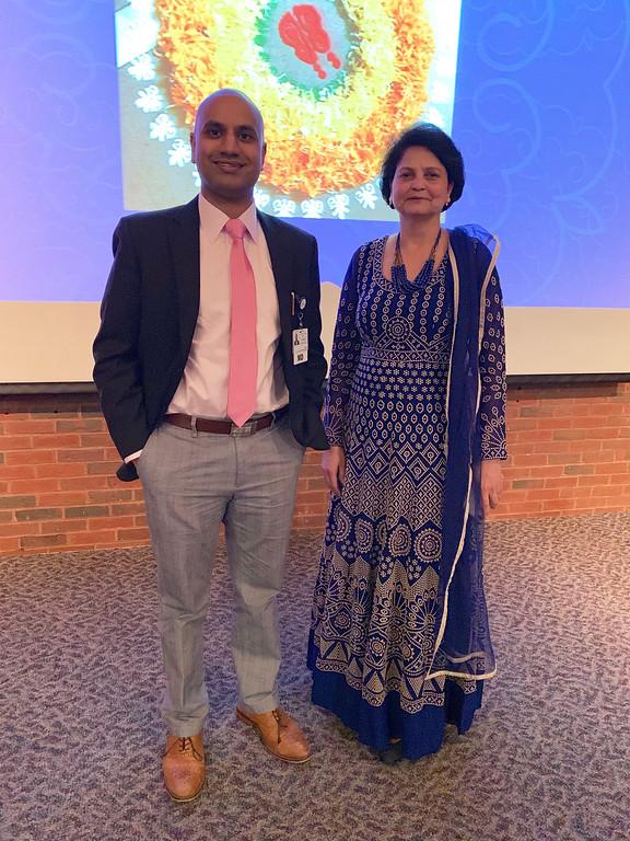 . Dr. Vishnu Kannabiran of Wayland, one of the night\'s singers, and Dr. Sonali Ayar of Bedford