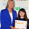 Cllr Patricia Stewart with Kym Versey, St Columbanus NS.<br /> Photograph: Margaret Brown<br /> Primary Schools Drawing Competition, Prize giving Ceremony took place in the Assembly Room, County Hall at 4.30pm Wednesday 15 October 2014 as part of Social Inclusion Week 2014.