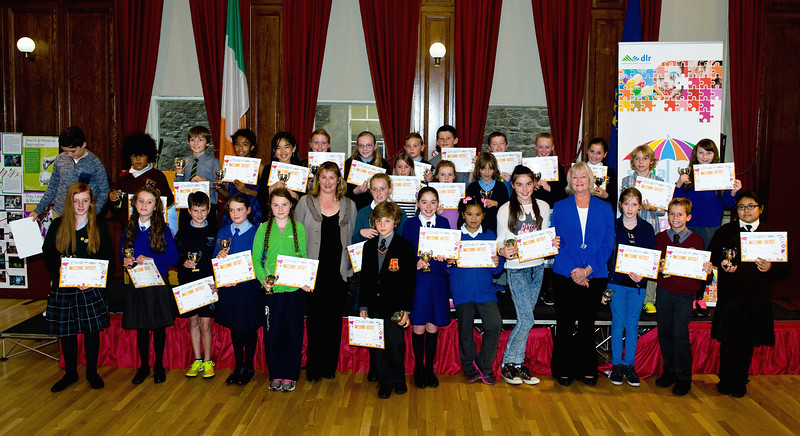 Primary Schools Art Competition Winners gathered in the Assembly Room.<br /> Photograph: Margaret Brown<br /> Primary Schools Drawing Competition, Prize giving Ceremony took place in the Assembly Room, County Hall at 4.30pm Wednesday 15 October 2014 as part of Social Inclusion Week 2014.