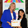 Cllr Patricia Stewart with Fuka Ikeda, International School of Dublin.<br /> Photograph: Margaret Brown<br /> Primary Schools Drawing Competition, Prize giving Ceremony took place in the Assembly Room, County Hall at 4.30pm Wednesday 15 October 2014 as part of Social Inclusion Week 2014.