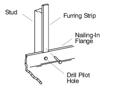 "Add shims between the nailing-in<br /> flange and the studs as needed to<br /> eliminate gaps.  Use #6 large-head<br /> galvanized nails to secure the <br /> nailing-in flange to the studs.<br /> <br /> Install furring strips to the studs to<br /> shim out to the edge of the nailing-in flange.<br /> <br /> Installing the furr strips in this manner makes<br /> for a flat wall ready for tile.  Without the furr<br /> strips, the cement board would ""bow"" out at the<br /> bottom making for an unsightly tile job."