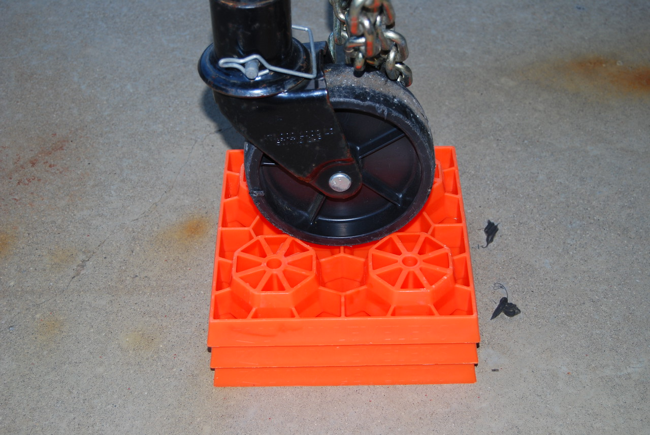 Lynx blocks (or a piece of wood) are a better alternative if you are on soft ground and there is risk that the tongue jack wheel could sink into the ground.
