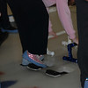 Sharons sparkly pink shoes and pink sweatshirt and tennis bracelet