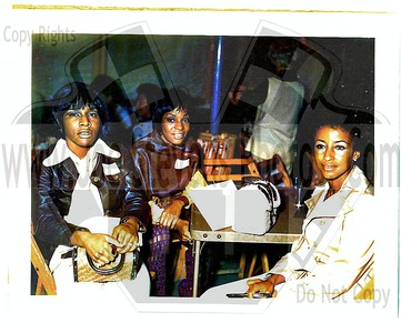 "This is a polaroid photo that I took on of Martha & the Vandella's on July 21st, 1970 during a Moonlight Cruise on the Bob-lo Boat.  The Bob-lo Boat was an old steam ship similar to the Queen Mary but without the paddle wheel.  People would gather at the Detroit boat dock & board the ship & take a one hour curise across the river to Bob-lo Island Amusement Park which was an Island in Canada.  Then catch a ride back to Detroit on one of it's cruises back.  Martha & the Vandella's gave me one of their publicity photo's & they all personally signed it just for me.  ""To Patty"" etc.  I have that picture up next in this gallery too."