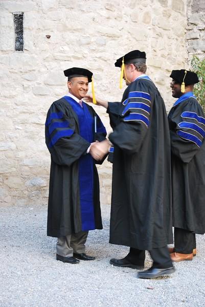 Dr. Hasan Al Fardan Being Congratulated By Dr. Henderson.