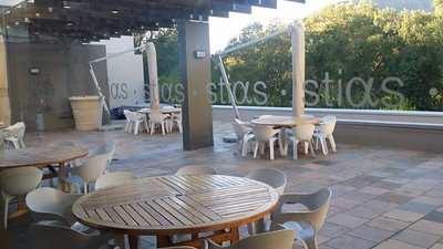 The patio of the STIAS building.