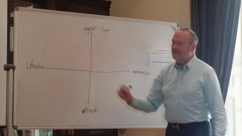 Dr. Bevan showing a model that may be used in research.