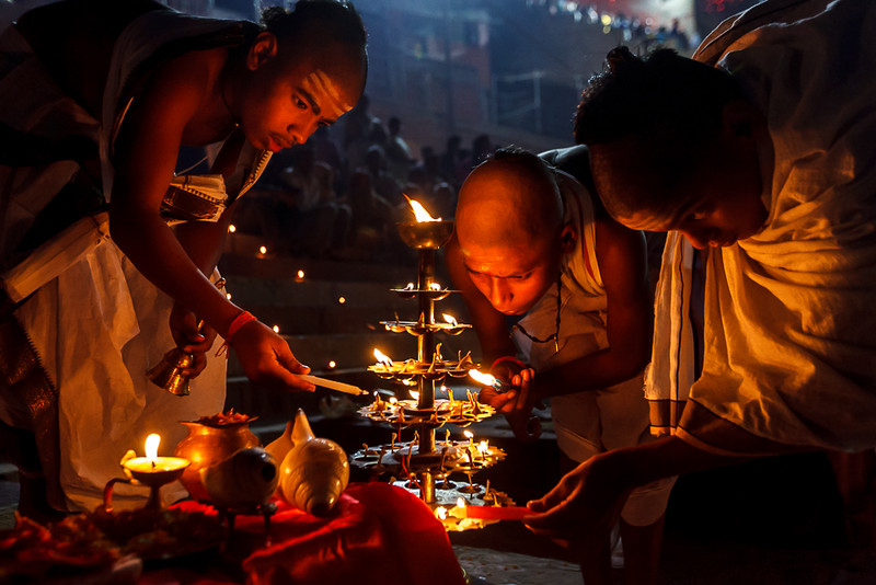 Vedic Students of Varanasi, India on the occasion of Dev Deepawali festival.