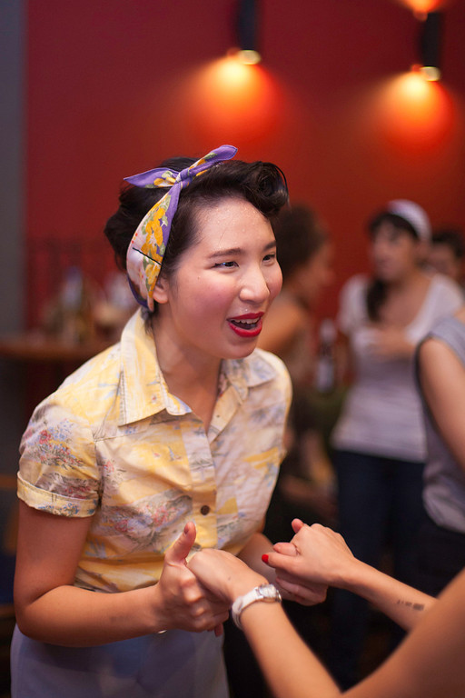 """The big party nights attract fans of the lifestyle as much as fans of the dancing. """"Billy Blues"""": Rockabilly and Blues Party at The Hop - Swing Dance Club, Silom, Bangkok."""