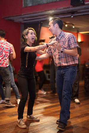 """Founder/Director Oat Naviroj the lead singer from Trix O'Treat """"Billy Blues"""": Rockabilly and Blues Party at The Hop - Swing Dance Club, Silom, Bangkok."""