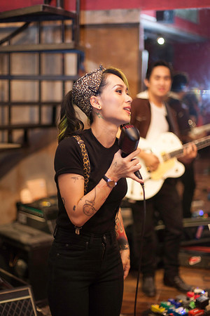 """Lead singer from Thai Rockabilly band Trix O'Treat """"Billy Blues"""": Rockabilly and Blues Party at The Hop, Silom, Bangkok."""