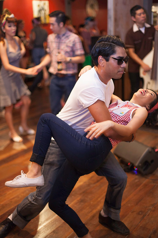 """Cool moves require hard work. """"Billy Blues"""": Rockabilly and Blues Party at The Hop - Swing Dance Club, Silom, Bangkok."""