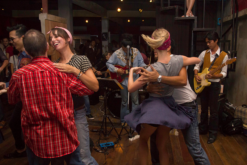 """Dancing is always better with live music. """"Billy Blues"""": Rockabilly and Blues Party at The Hop - Swing Dance Club, Silom, Bangkok."""