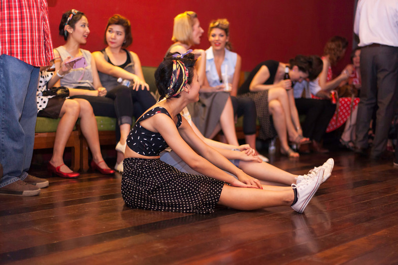 """After the dancing stops, the ladies cool down and socialise. """"Billy Blues"""": Rockabilly and Blues Party at The Hop - Swing Dance Club, Silom, Bangkok."""
