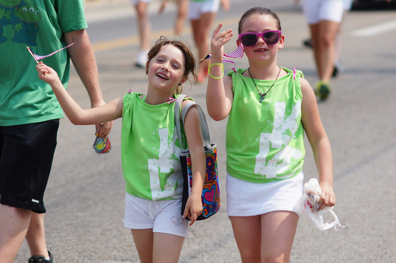 Two friends marching in the Memorial Day 2012 parade in Bellevue, KY.