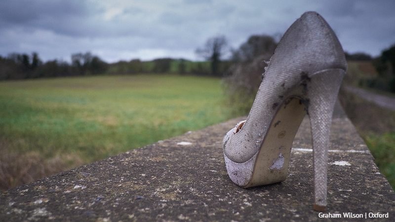 Shoe on bridge wall. Pergatory, Oxfordshire.